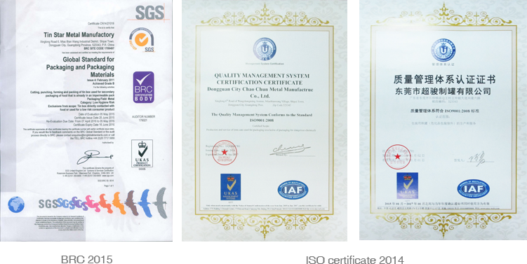 tin box Certifications